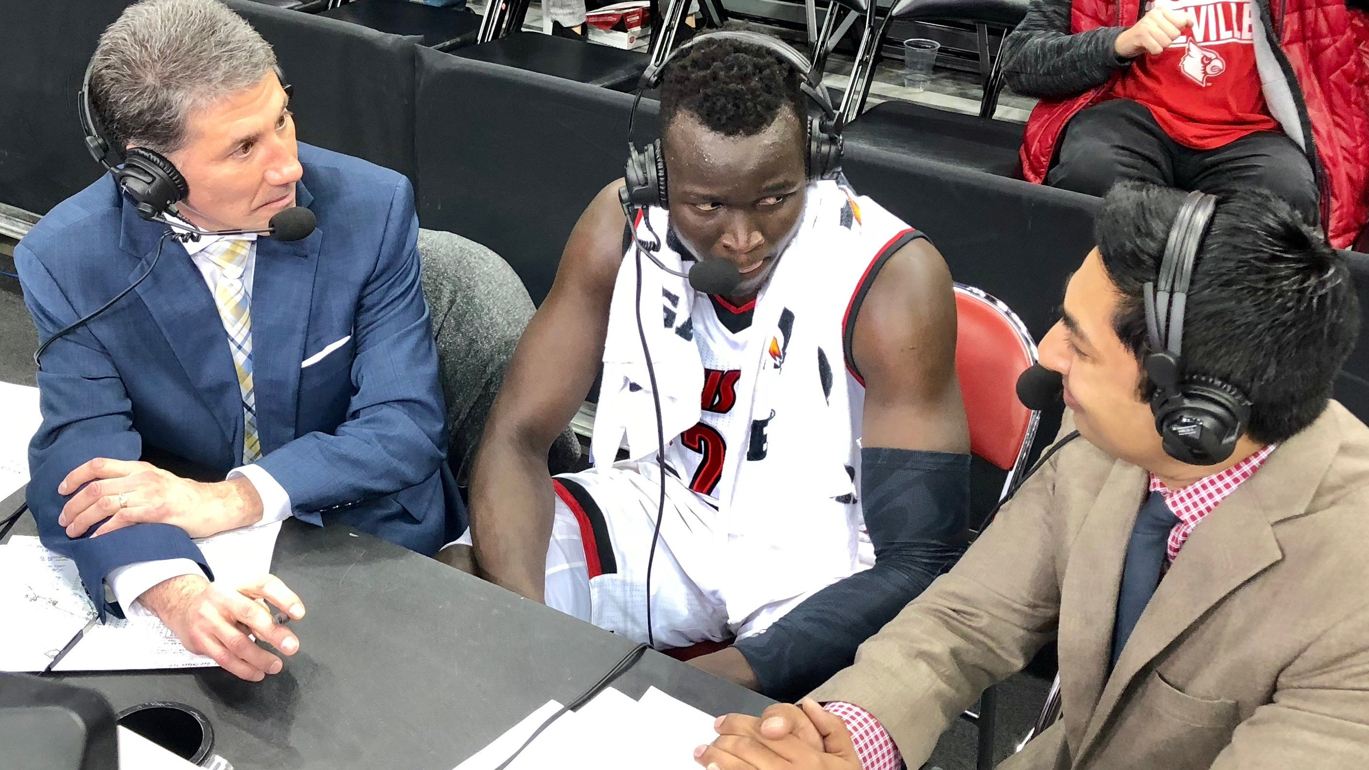 Deng Adel was interviewed on ESPN after the Cardinals rallied to defeat Northern Kentucky in the NIT Tuesday night.