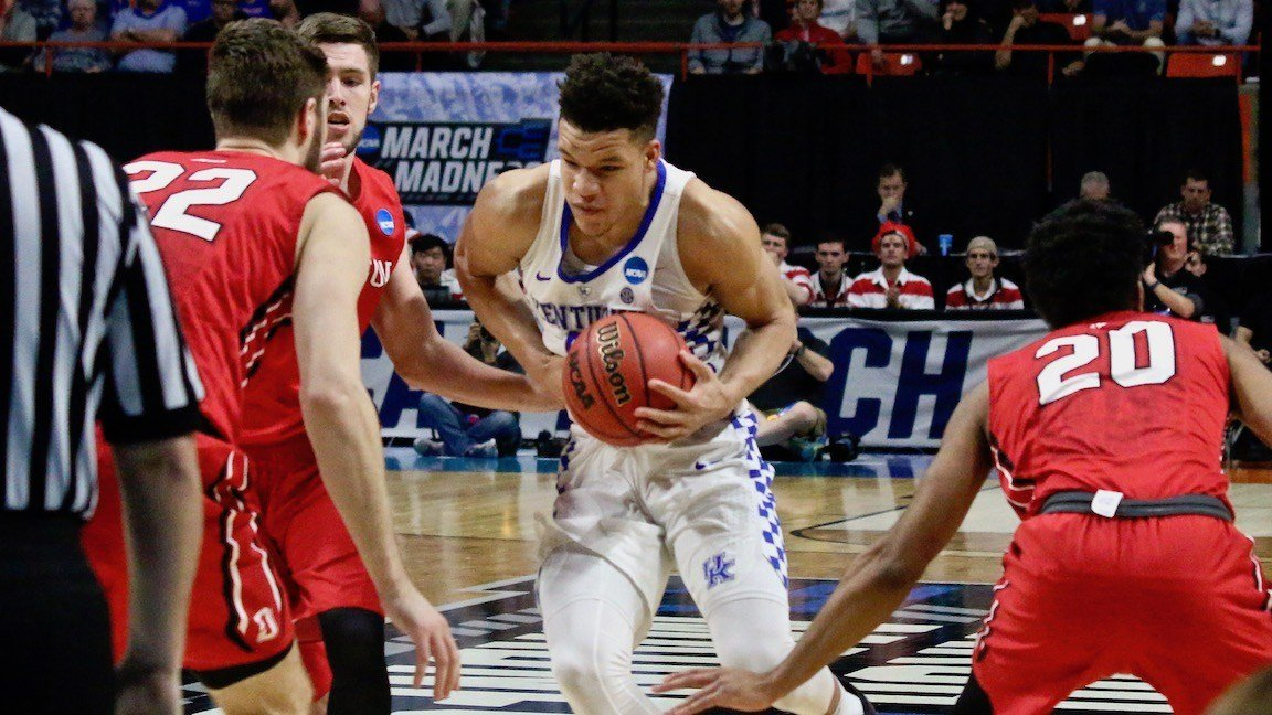 Kevin Knox drives for two of his 25 points. (WDRB photo by Eric Crawford)