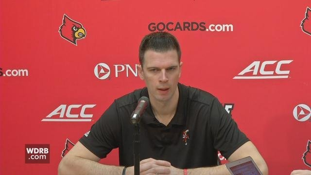 University of Louisville men's basketball coach David Padgett talks to the media on March 16, 2018.