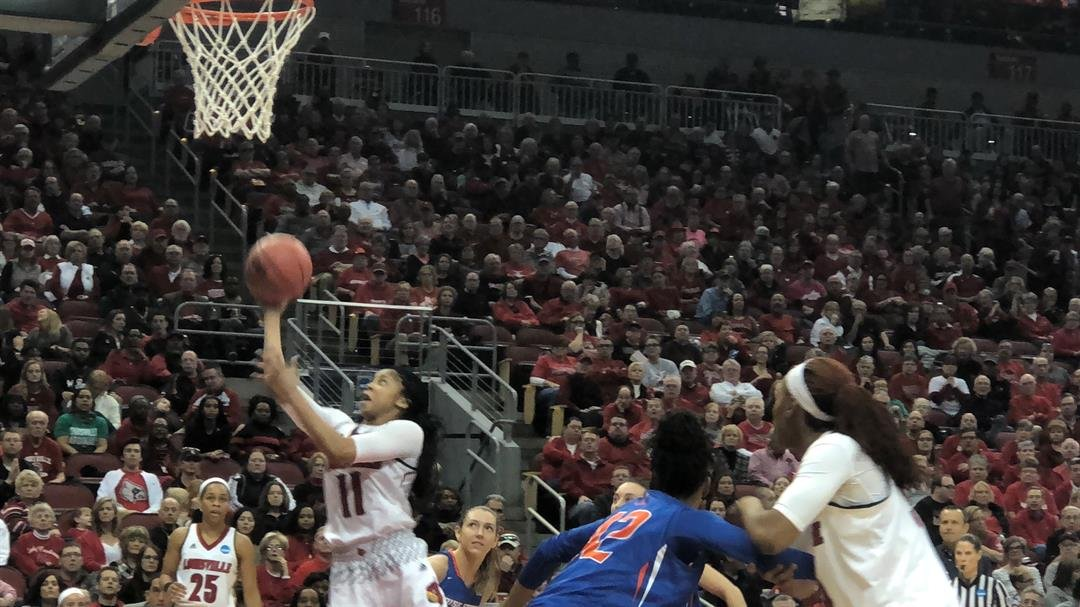 Louisville guard Arica Carter had two quick third quarter baskets as Louisville overwhelmed Boise State in the second half of the Cards' NCAA Tournament opener.