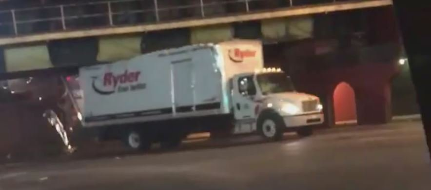 The semi-truck was severely damaged on Thursday after it plowed underneath the University of Louisville bridge on 3rd Street by Eastern Parkway. (Courtesy: Gary Redbird)