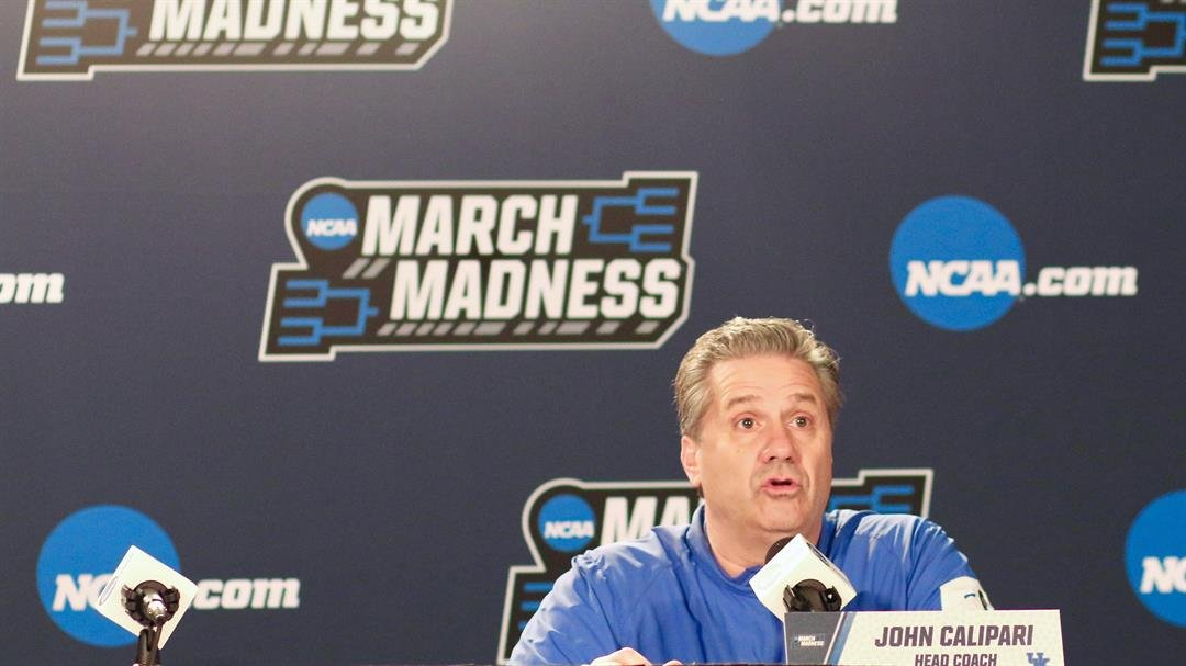 Kentucky coach John Calipari speaks with reporters on Friday. (WDRB photo by Eric Crawford)