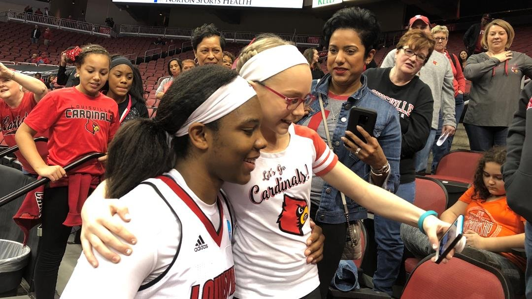 Louisville senior Myisha Hines-Allen scored 24 points, grabbed 13 rebounds and posed for dozens of pictures after the Cards beat Marquette Sunday to advance to the Sweet Sixteen of the NCAA Tournament.