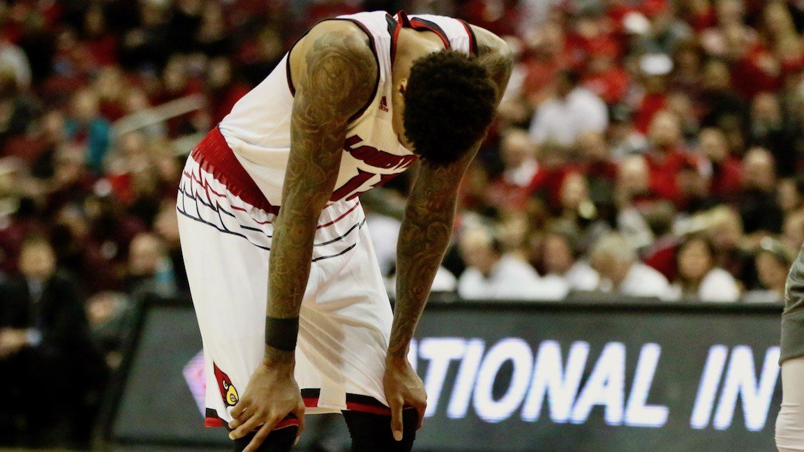 Louisville junior Ray Spalding stops for a moment late in Louisville's NIT quarterfinal loss to Mississippi State. (WDRB photo by Eric Crawford)