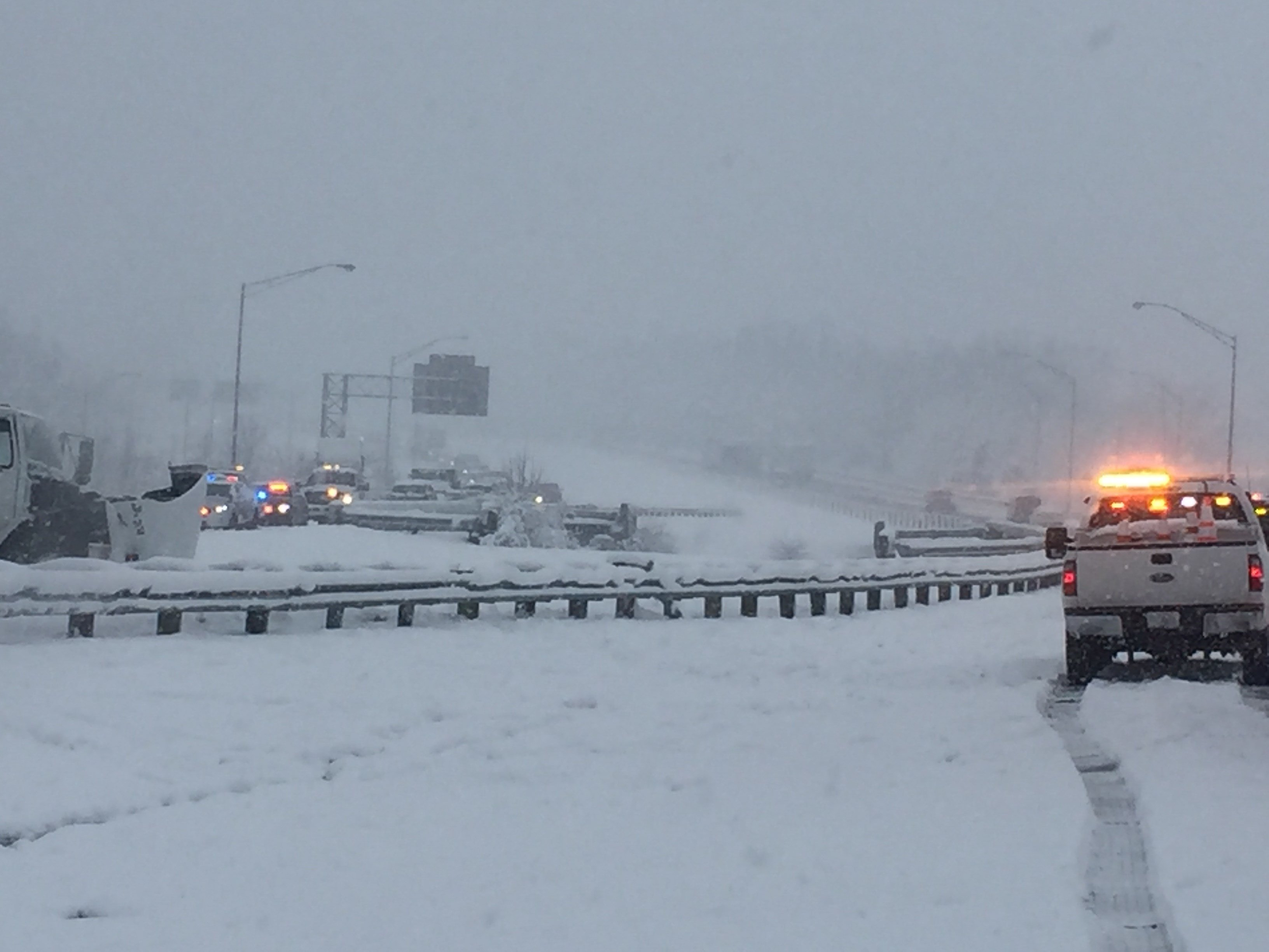 One person was injured, as a semi overturned on eastbound I-265 at the I-65 interchange.