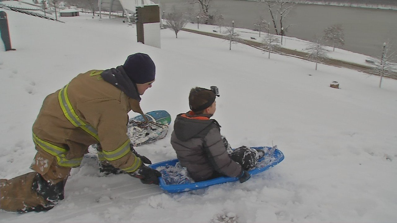 Many families took advantage of the snow day by going sledding.