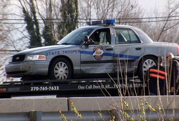 A Kentucky State Police car was sideswiped in the pursuit.