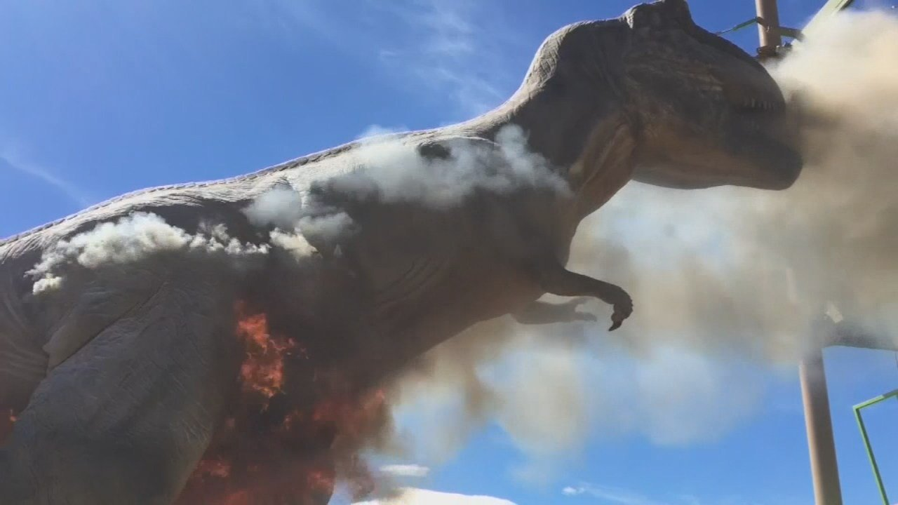 The T-Rex at the Royal Gorge Dinosaur Experience in Colorado smoldered for about 10 minutes before it caught fire Thursday.