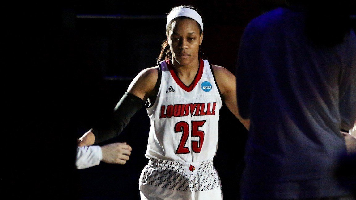 Asia Durr is introduced in the starting lineups before Louisville's victory over Stanford Friday at Rupp Arena. (WDRB photo by Eric Crawford)