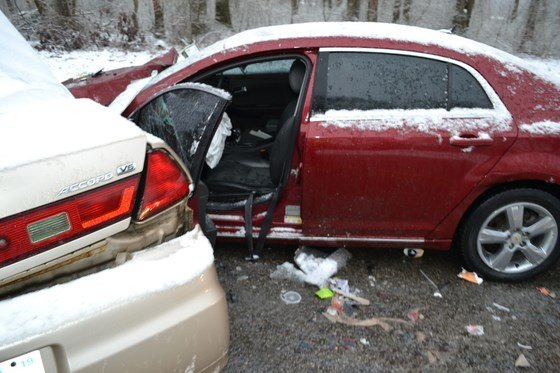 Icy road conditions are believed to be a factor in what caused the crash, police said, asfrozen rain was falling at the time. (Indiana State Police)