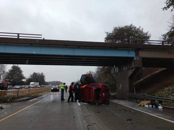 Preliminary investigation revealed Richard Coulter, 37, from Austin, Indiana, was driving westbound on the overpass on County Road 600 South above I-65 when he lost control of his vehicle on the icy road, according to police. (Indiana State Police)