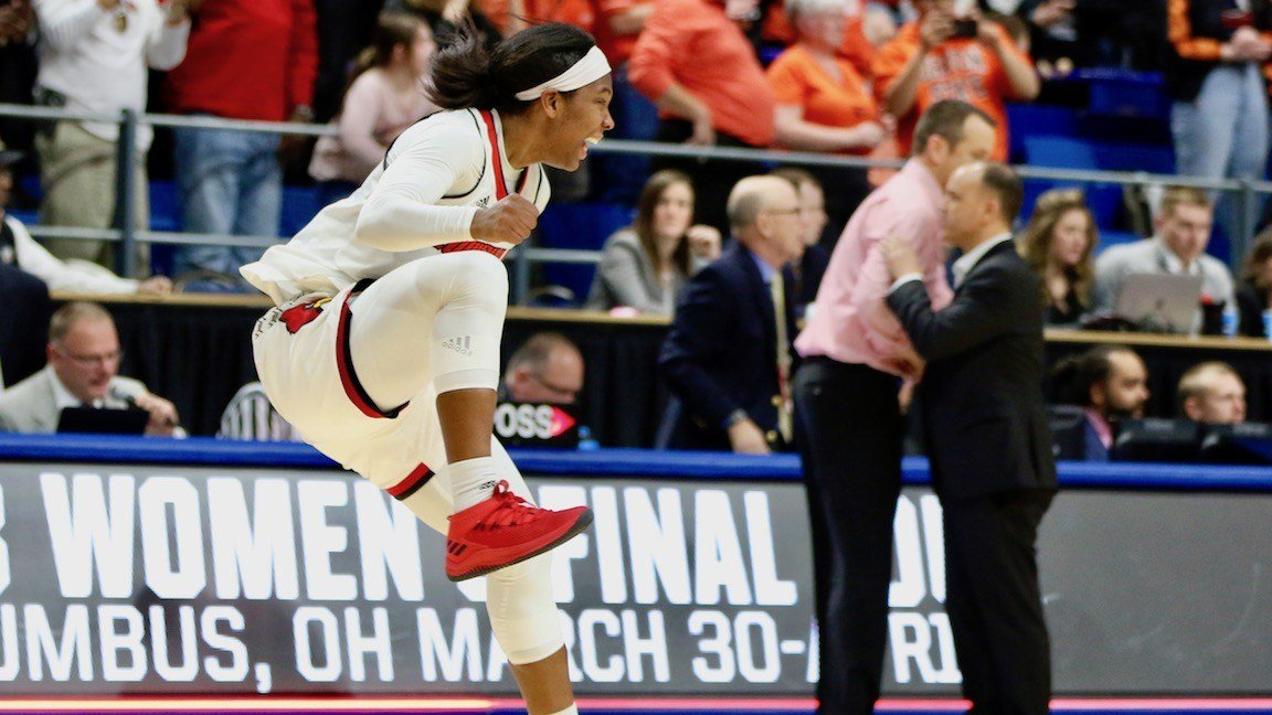 Myisha Hines-Allen celebrates after the final horn of Louisville's Elite Eight win over Oregon State. (WDRB photo by Cindy Rice Shelton)