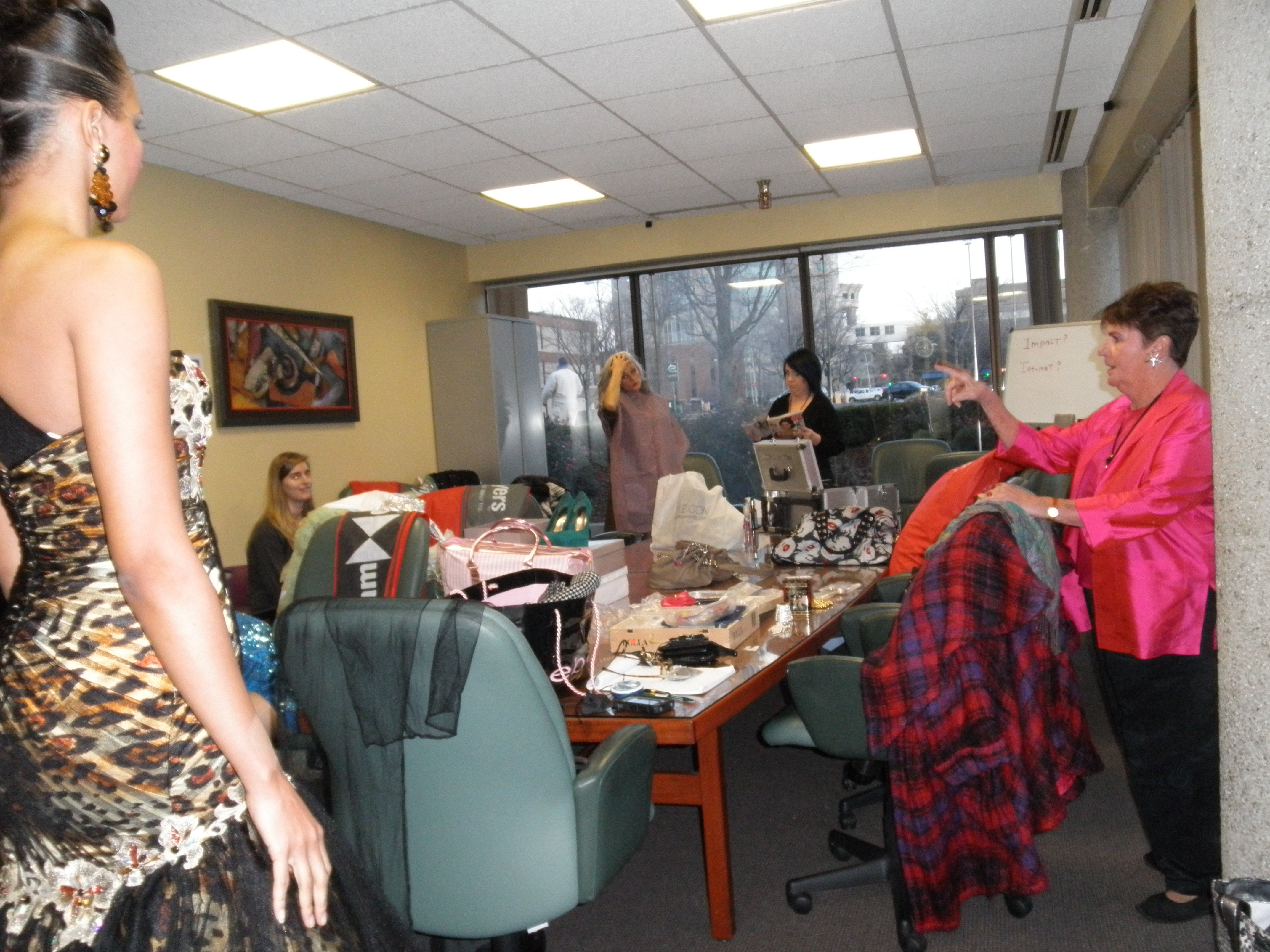 These models take over the conference room to get ready!