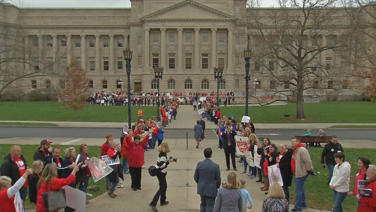 A growing number of schools are closing Friday, April 13, 2018, so teachers can protest in Frankfort.