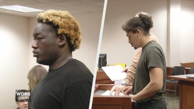Two men accused of robbing a pizza shop in Sellersburg were arraigned in court in Louisville on March 28, 2018.