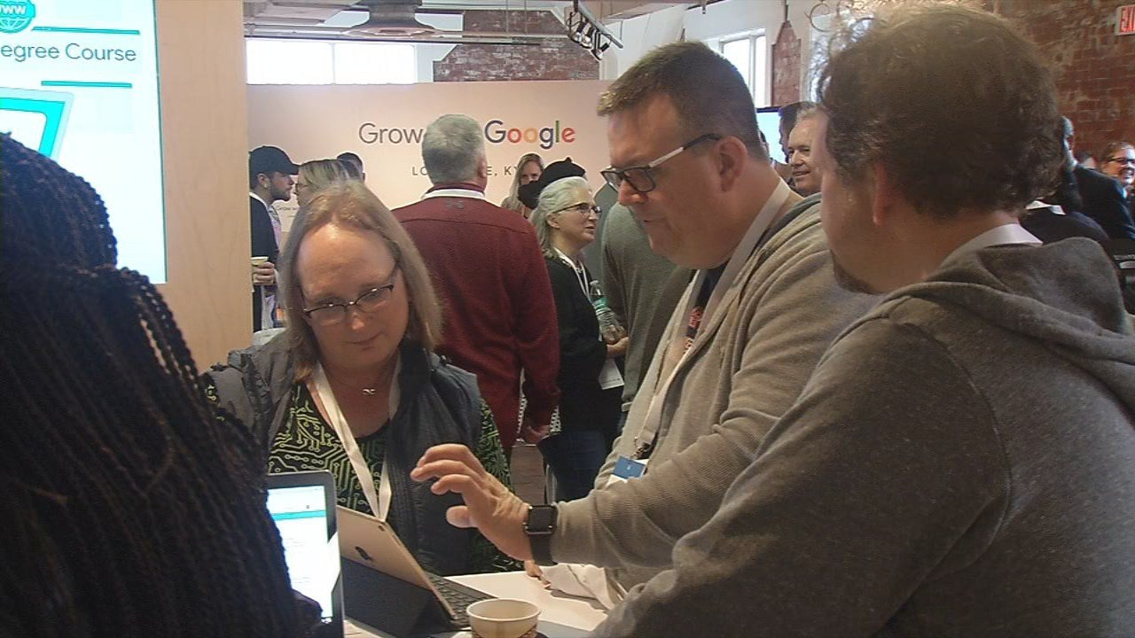 During the Grow with Google event, Google staffledhands-on demonstrations about topics including online marketing for small businesses, job search strategiesand email basics.