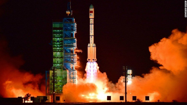 China's Tiangong 2 space lab is launched on a Long March-2F rocket from the Jiuquan Satellite Launch Center in the Gobi Desert. (Courtesy: CNN.com)