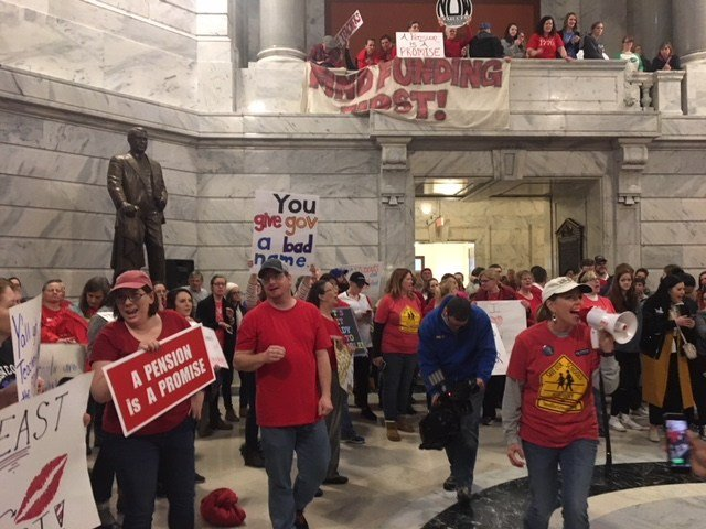 Kentucky teachers packed the Capitol Rotunda to protest the pension bill. March 30, 2018