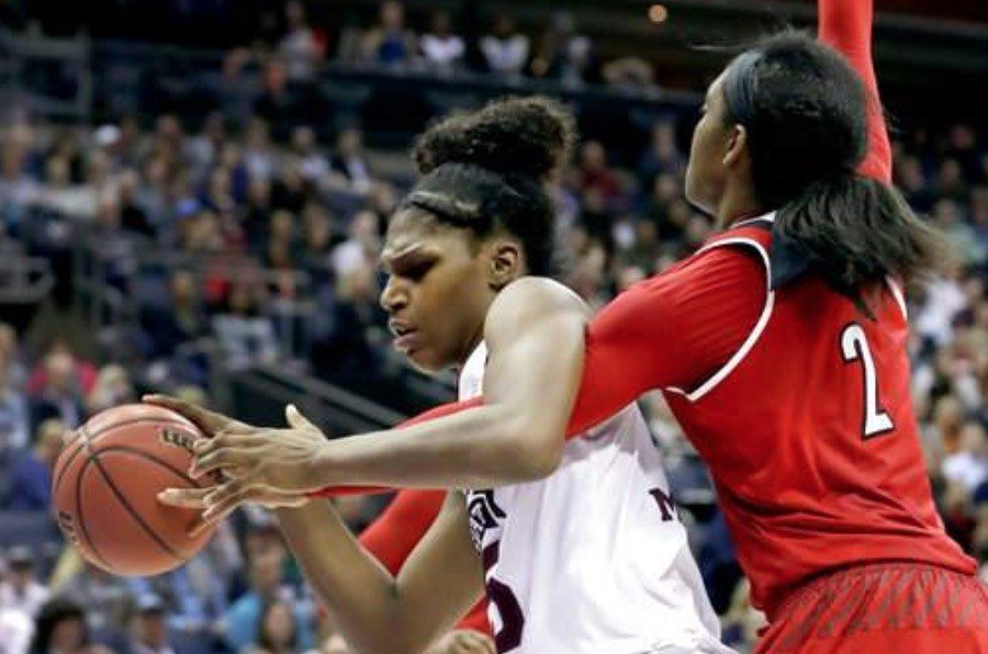 Teaira McCowan punished Louisville with 21 points and 25 rebounds in the national semifinals Friday night. (AP photo)