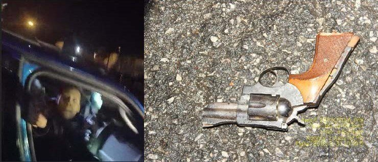 LMPD said the gun pictured on the right was found on the scene. The image on the left shows what appears to be the suspect pointing a gun at the officer. (Photo provided by LMPD)