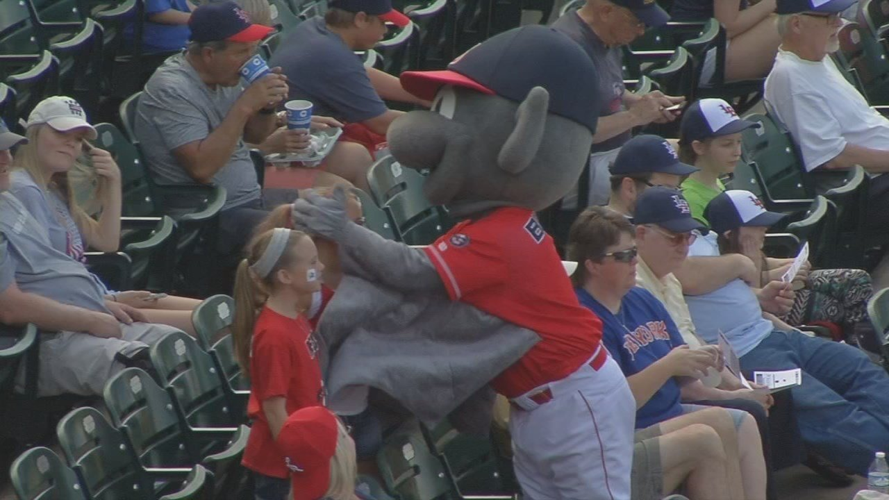 Buddy Bat greets children during the Louisville Bats season in 2017.