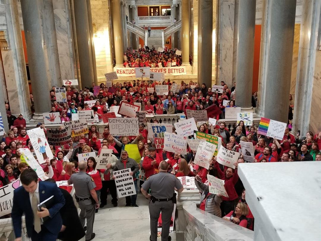 Teachers Swarm Kentucky Capitol To Protest Pension Changes, School Budget Cuts