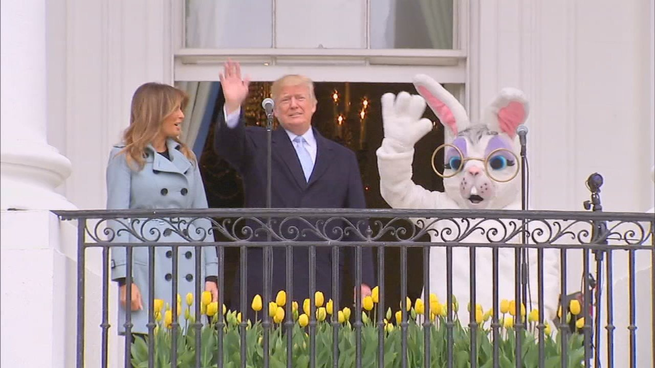 The Easter Bunny joined President Donald Trump and First Lady Melania Trump on April 2 for the annual Easter Egg Roll.