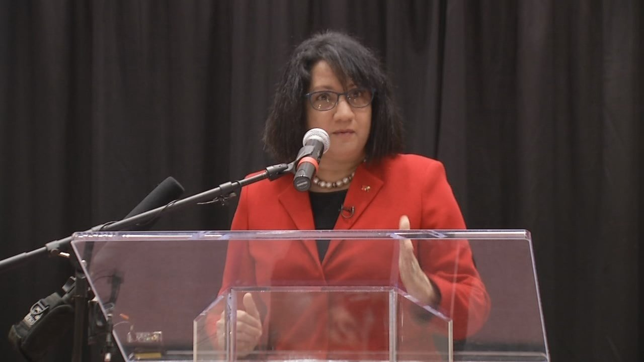 Dr. Neeli Bendapudi, U of L's new president, spoke to students and faculty on the Belknap campus on April 4, 2018.