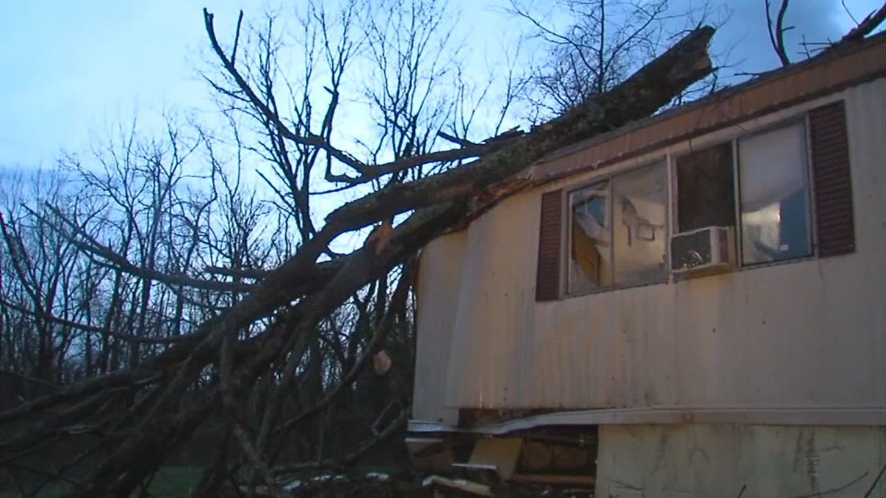 No injuries were reported after a tree crashed into a home in Sonora, Kentucky during severe storms on April 3, 2018.