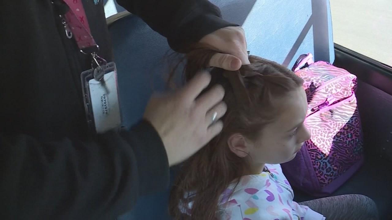 Utah 11-year-old Isabella Pieri has her bus driver, Tracey Dean, braid her hair each day.