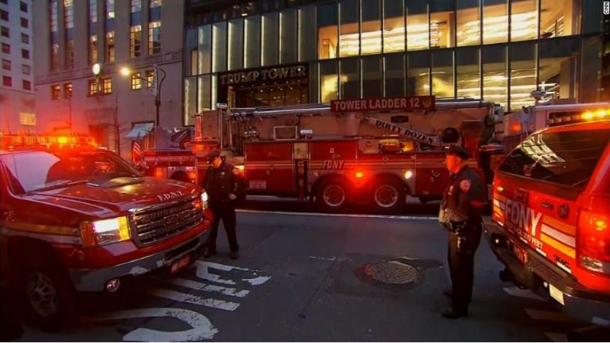 The person who died was a resident of the building's 50th floor who had been taken to the hospital in critical condition, department spokeswoman Angelica Conroy told CNN. (Photo courtesy of CNN)