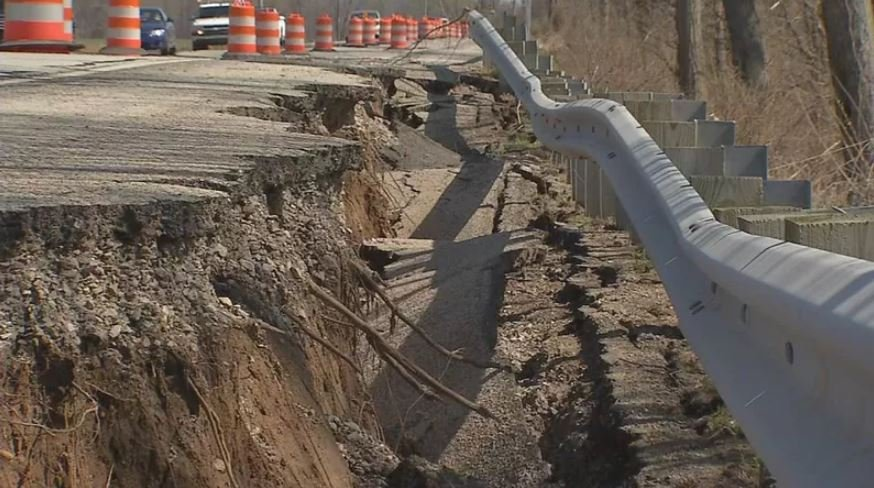 The highway began to crack near Horseshoe Southern Indiana and Two Mile Lane after recent flooding.