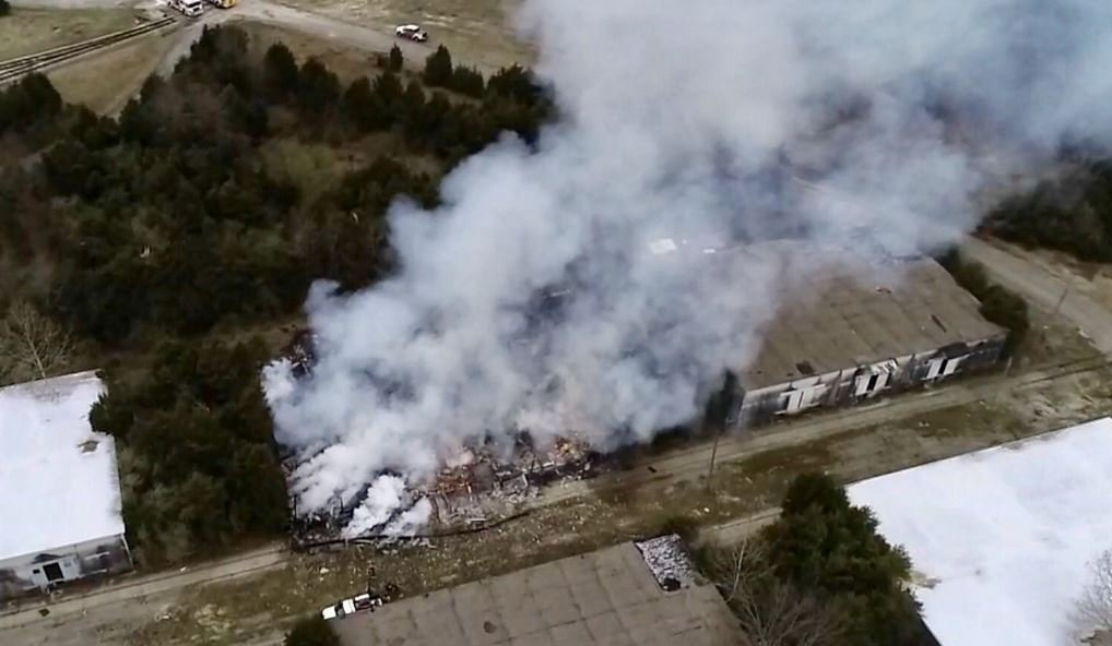 WDRB SKYCAM showed the source of the smoke around the former ammunition plantappearedto be from an old warehouse about a mile into the plant's property.
