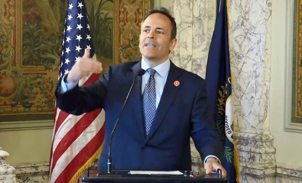 Gov. Matt Bevin announces he will veto the budget and tax bills at a news conference April 9, 2018.