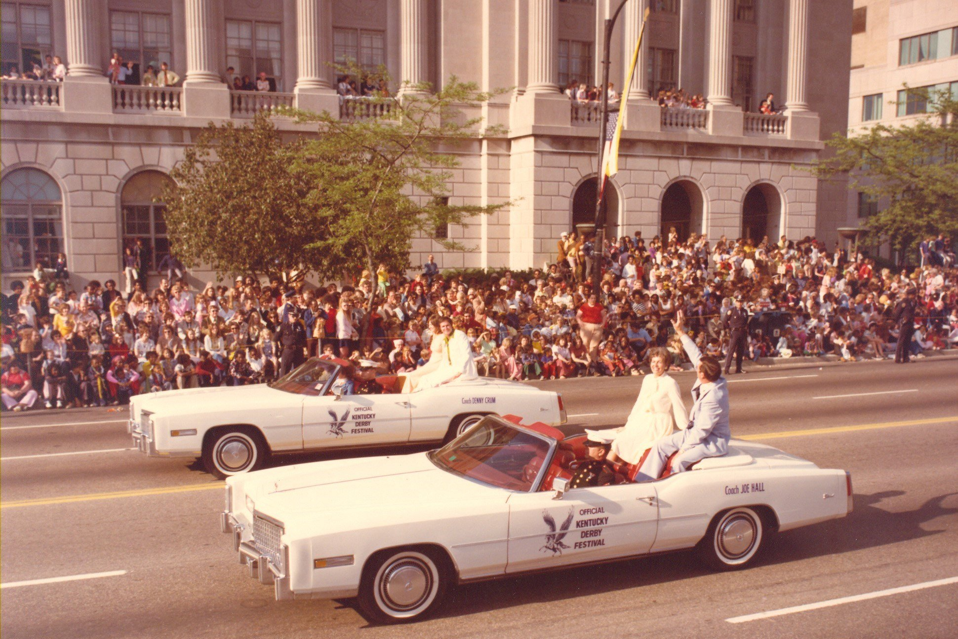 Joe B Hall and Denny Crum will be co-grand marshals for the Pegasus Parade just as they were in 1975.