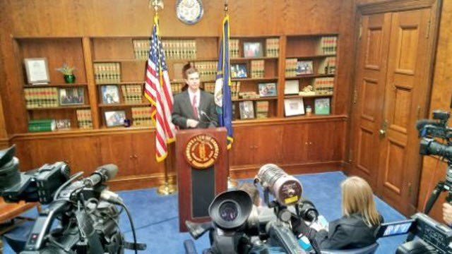 Kentucky Attorney General explains his reason for filing a lawsuit to block a pension reform bill during a news conference on April 11, 2018.