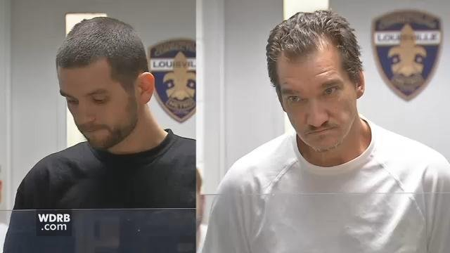 William Baker (left) and Charles Shelton (right) during a court appearance in Louisville on April 11, 2018.