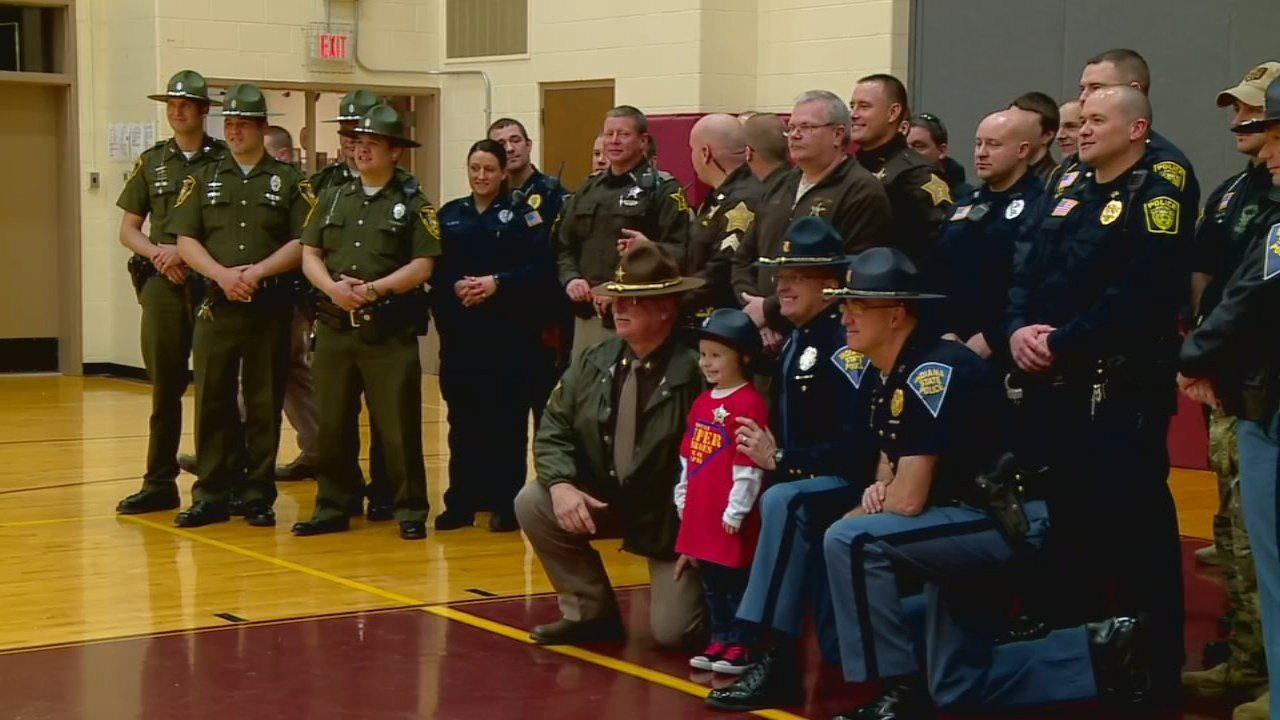 Police departments from across Indiana took part in a ceremony to honor 6-year-old Brantley Taber.