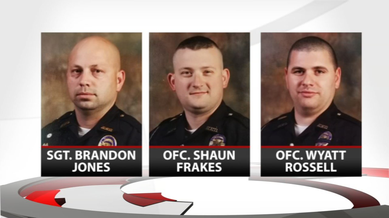 Radcliff Police Sergeant Brandon Jones, Officer Shaun Frakes and Officer Wyatt Rossell are all on administrative leave.