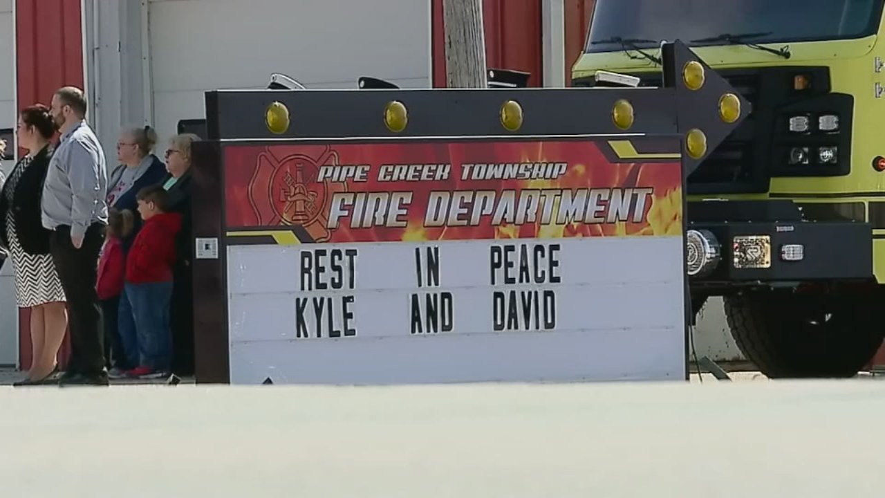 Hundreds gather for funeral for Elwood, Indiana firefighters Kyle Hibst and David Wittkamper.