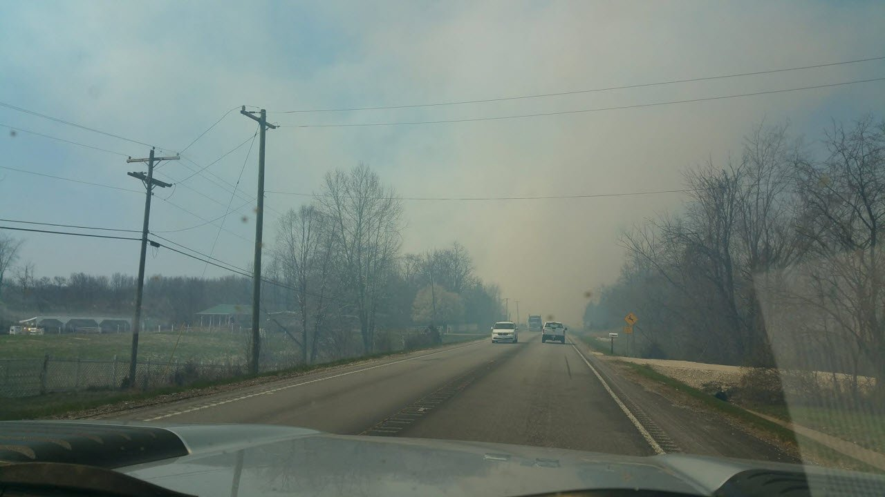 State Road 60 in Mitchell, Indiana was shut down due to heavy smoke from a sawmill fire.