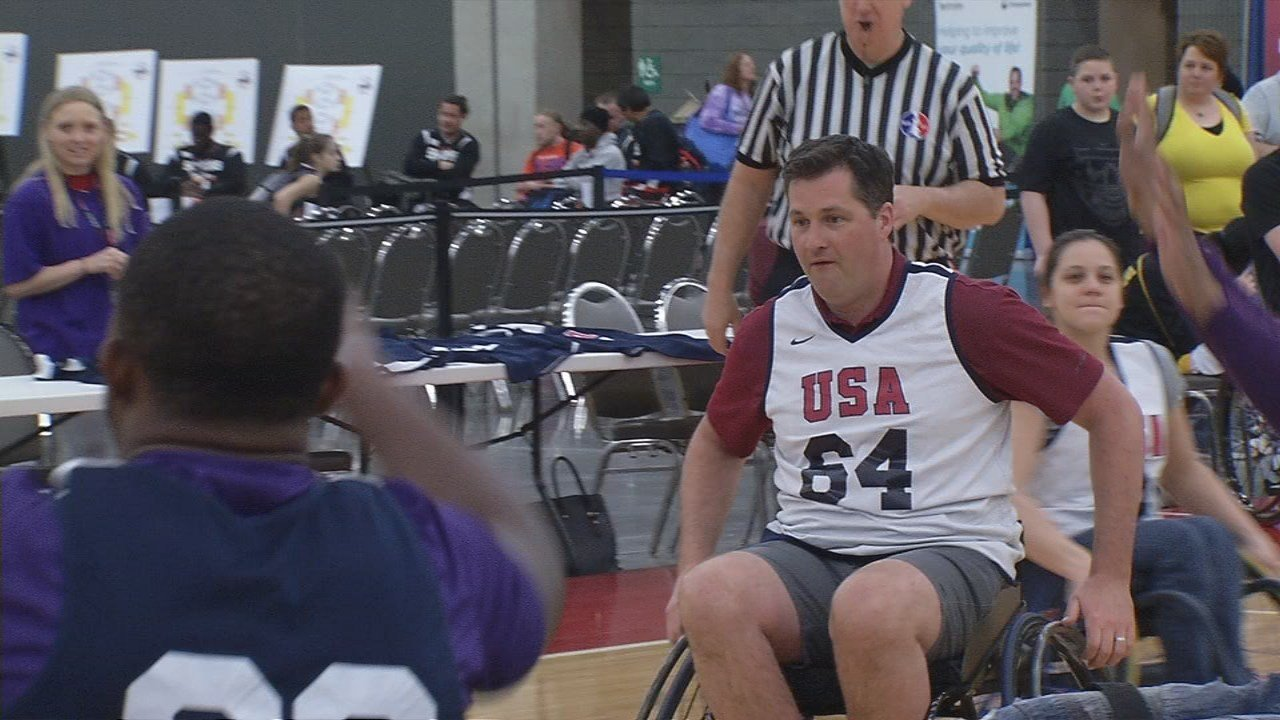 WDRB's Keith Kaiser tested his skills in the celebrity game at the National Wheelchair Basketball Tournament.