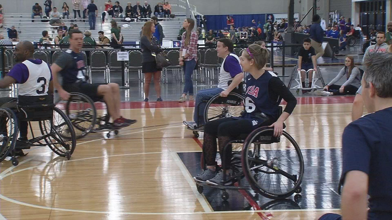 WDRB meteorologist Hannah Strong was among celebrities trying to keep up on the court.