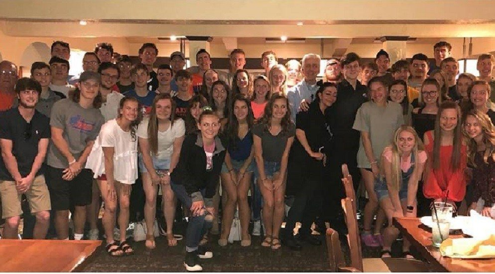 A Tennessee Olive Garden paid for the track team's dinner, when they discovered they were from Marshall County High School in Kentucky.