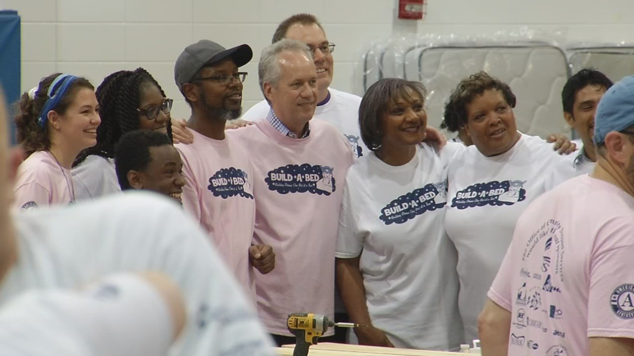"The Build A Bed event at Jefferson Middle School helped kick off the Mayor's ""Give A Day"" week."