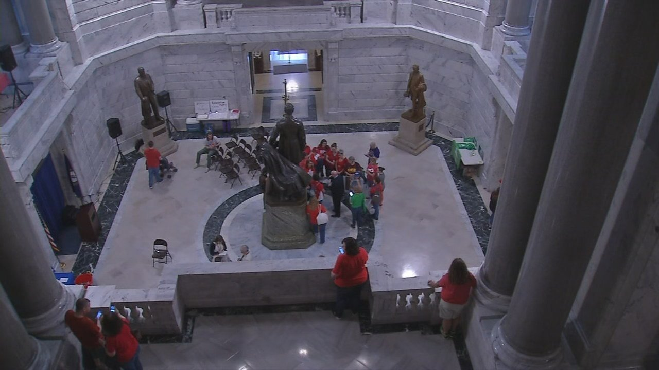 Small groups of teachers kept up the pressure on lawmakers wrapping up the 2018 session.