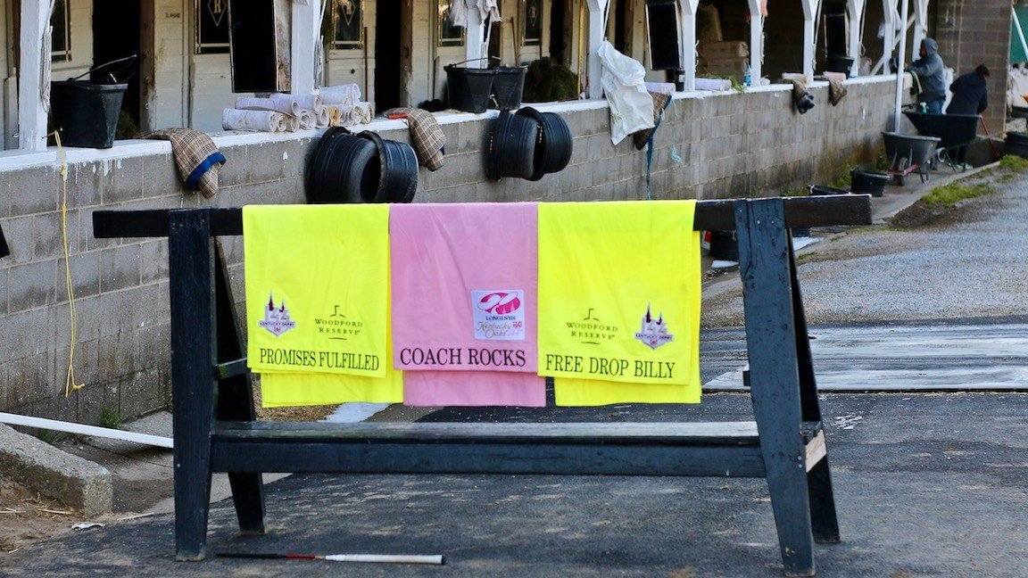 The saddle cloths for Dale Romans' Kentucky Derby and Kentucky Oaks hopefuls (WDRB photo by Eric Crawford)