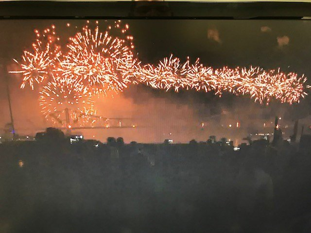 Fireworks from Thunder Over Louisville as seen from Waterfront Park in downtown Louisville Saturday. WDRB photo.