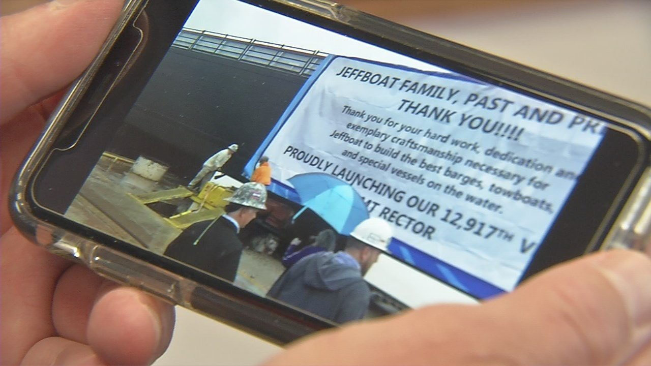 Cell phone video shows the sign on the final barge thanking past and present JeffBoat workers.