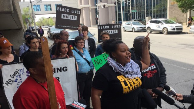 Members of Black Lives Matter protest outside LMPD headquarters in downtown Louisville on April 26, 2018.